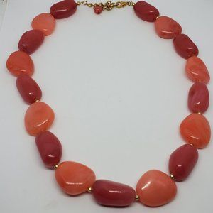 Peach and Pink large Plastic Bead Strand Necklace